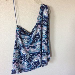 Cynthia Rowley blue paisley one shoulder blouse